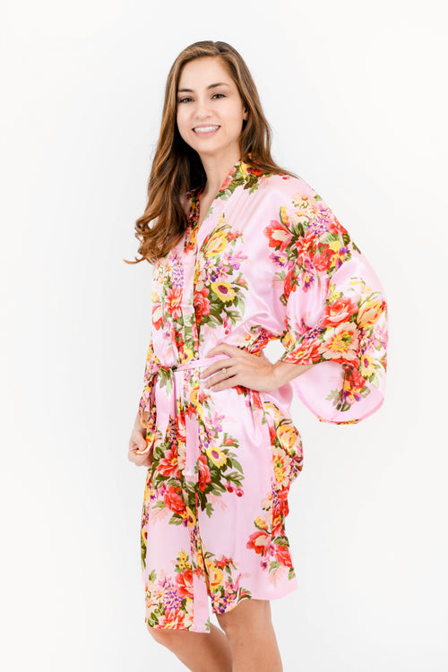 Light Pink Floral Satin Bridesmaid Robes