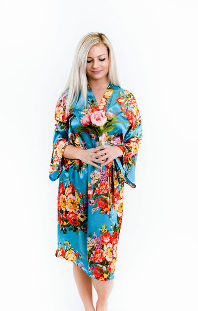 Turquoise Floral Satin Bridesmaid Robes
