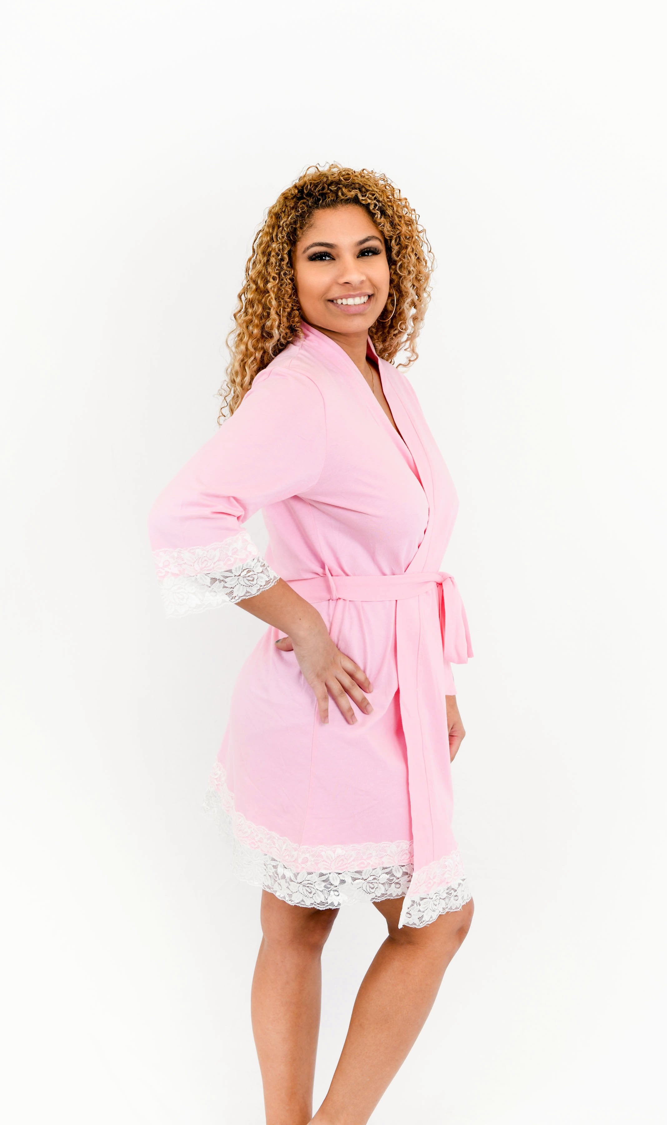 Pink Lace Trim Robe
