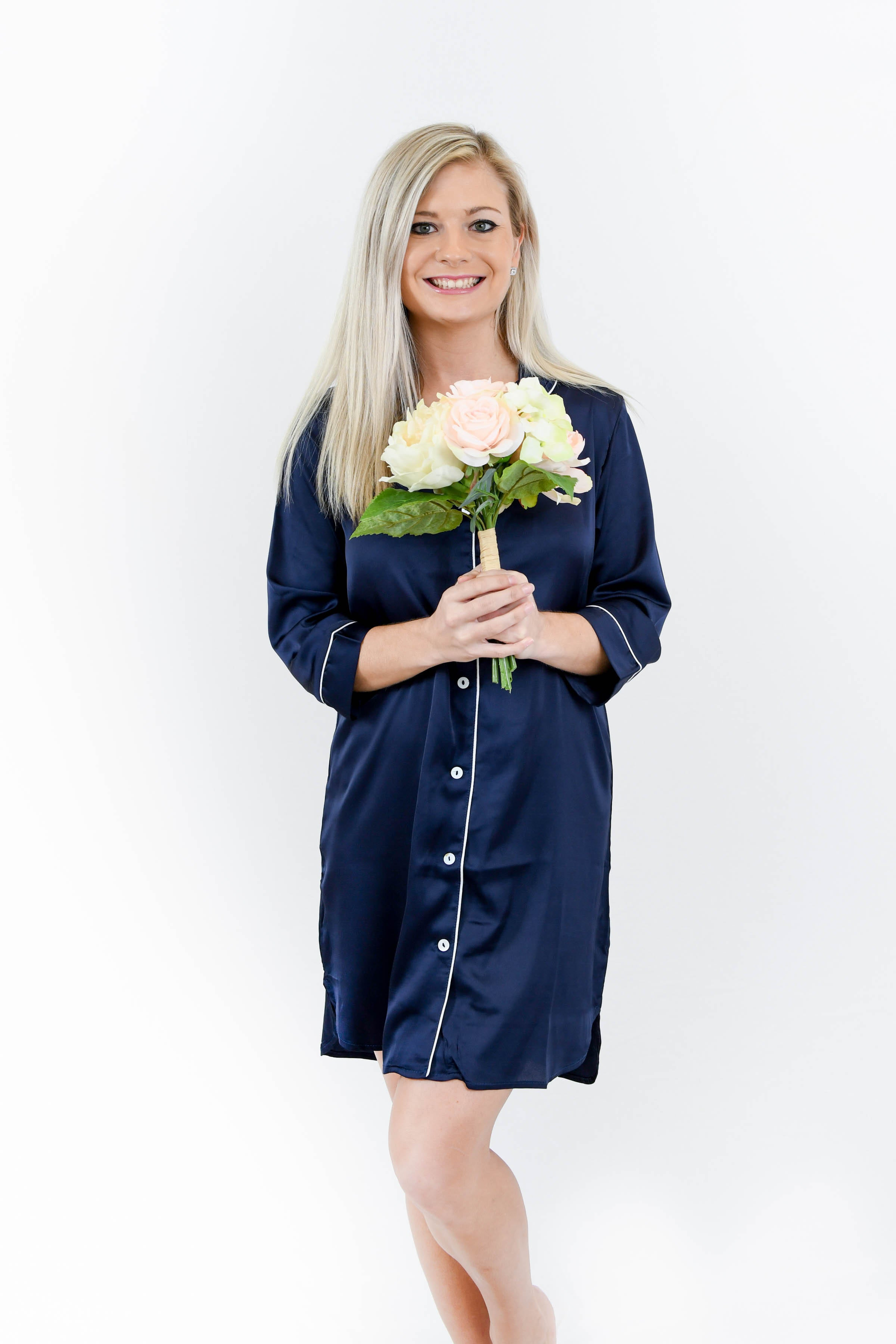 Long Navy Pajama Shirt