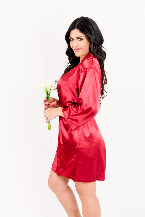 Burgundy Satin Bridesmaid Robe