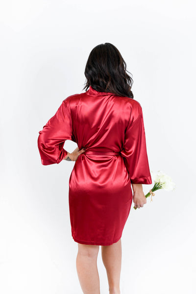 Burgundy Satin Night Robe