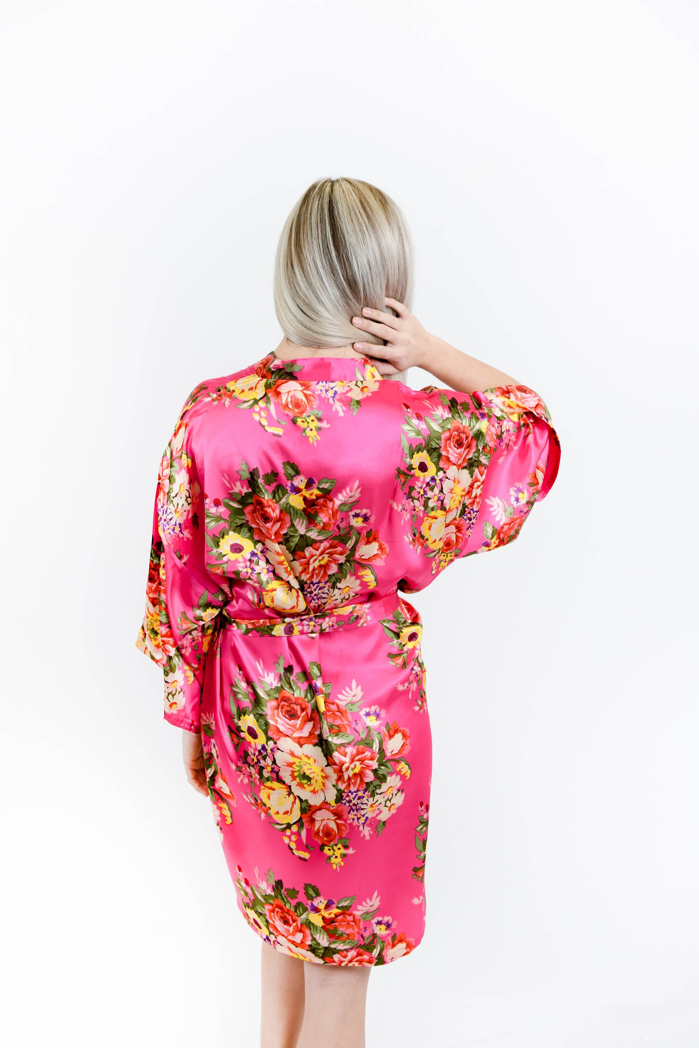 Hot Pink Floral Satin Bridesmaid Robes