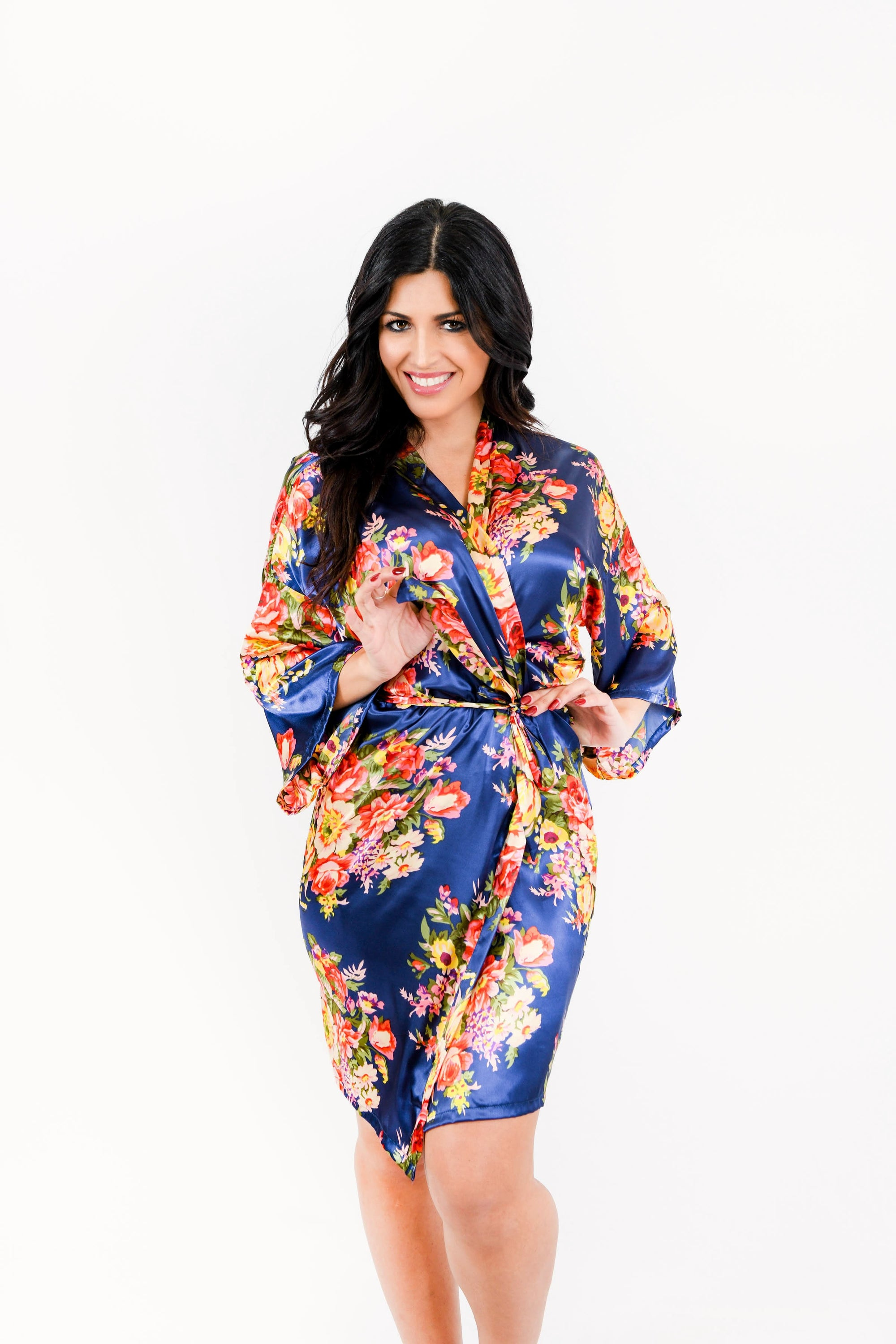 Navy Floral Bridesmaid Robe Kadlee