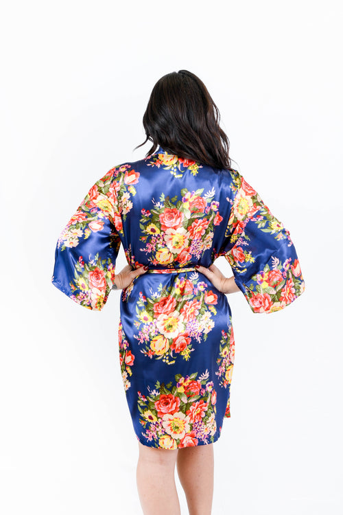 Navy Floral Satin Bridesmaid Robes
