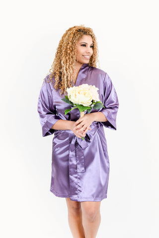 Black Satin Bridesmaid Robe