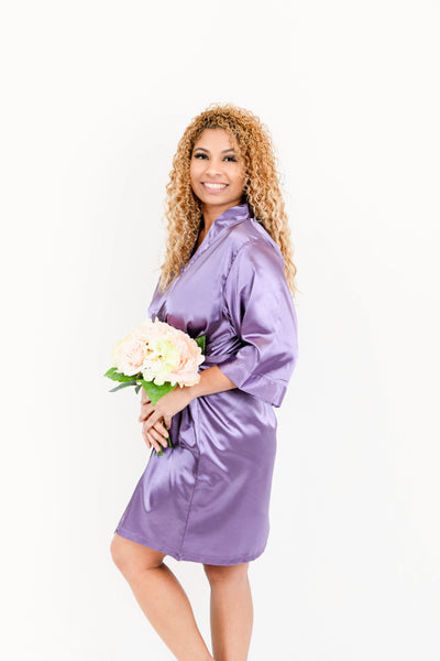 Plum Satin Bridesmaid Robe