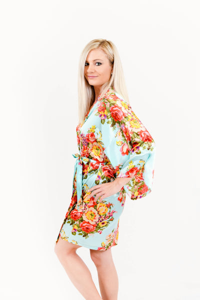 Mint Floral Satin Bridesmaid Robes