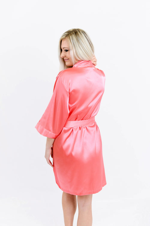 Coral Satin Bridesmaid Robe