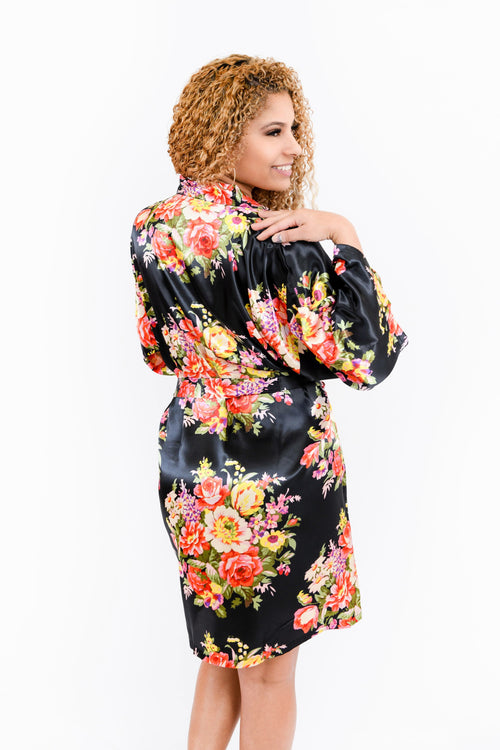 Black Floral Satin Bridesmaid Robe