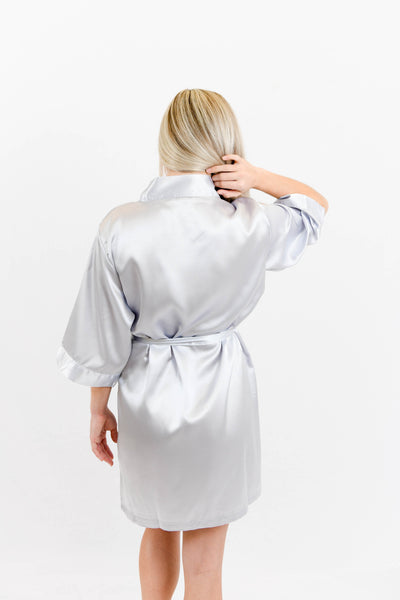 Grey Satin Bridesmaid Robe