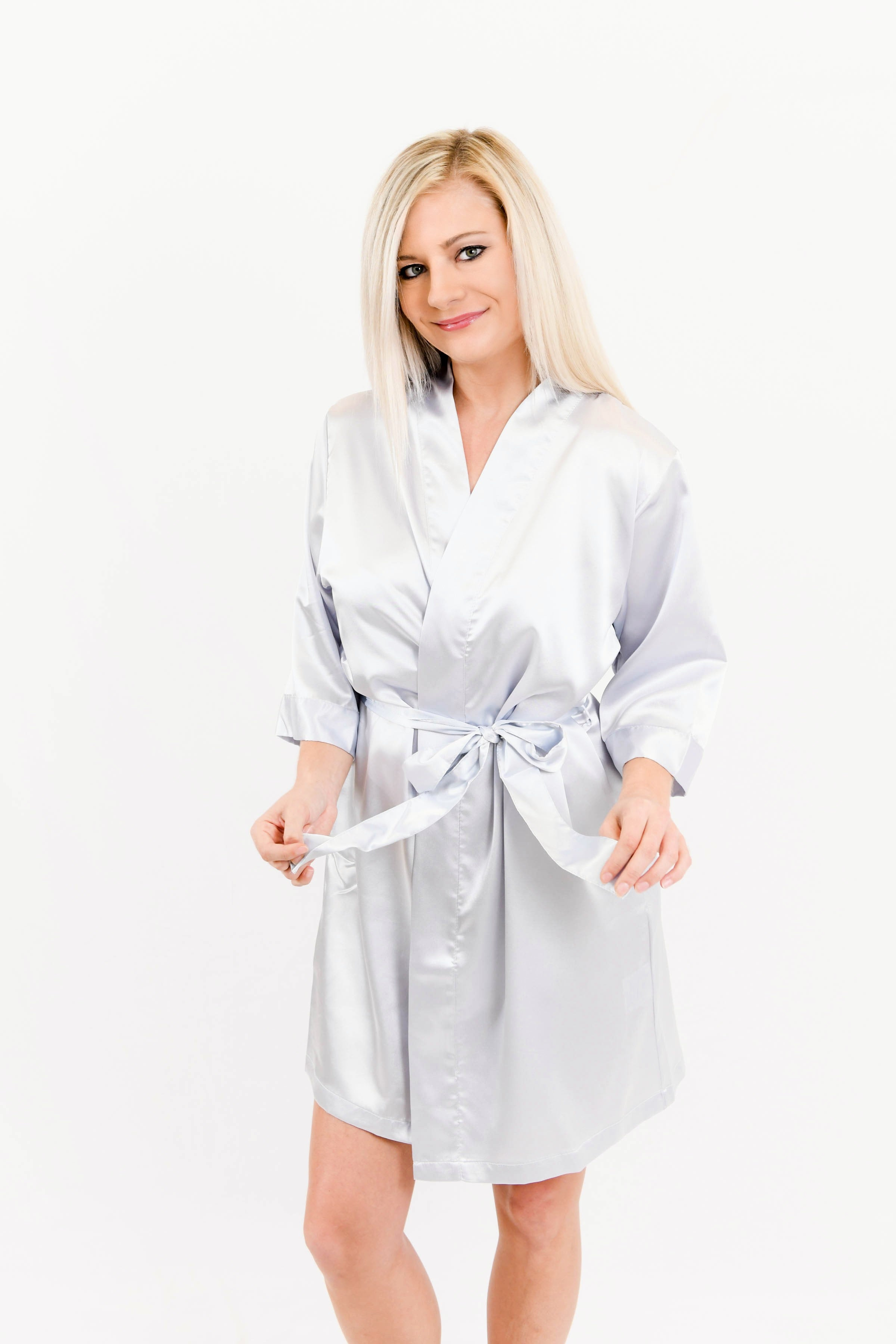 Light Gray Satin Bridesmaid Robe