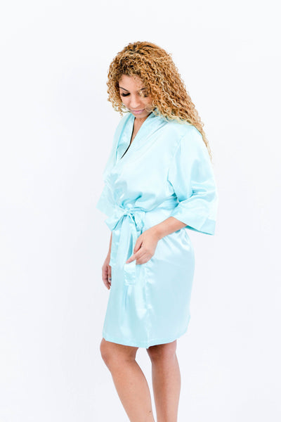 Mint Satin Bridesmaid Robe