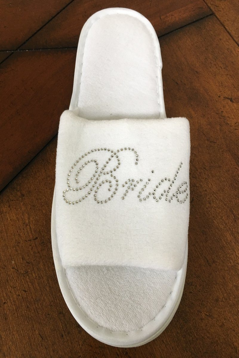 "White Open Toe ""Bride"" Slippers"