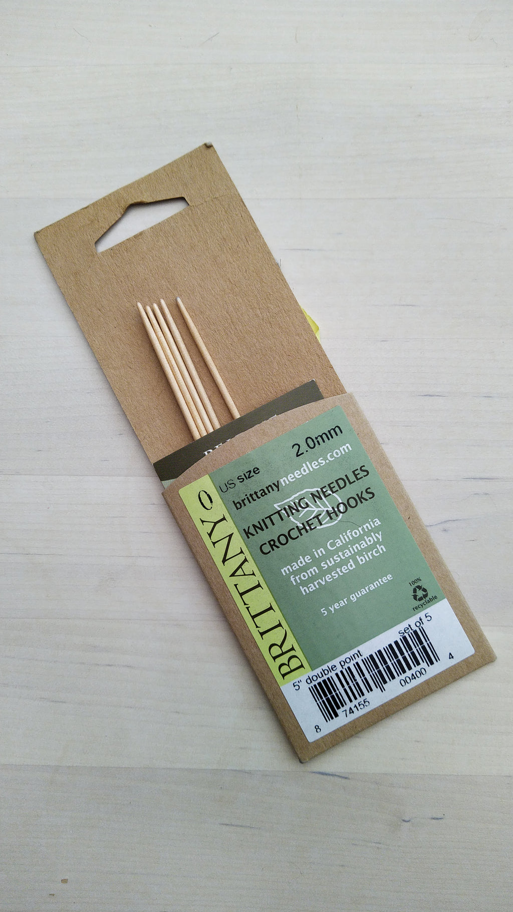 Brittany Double Pointes Needles 2.00mm