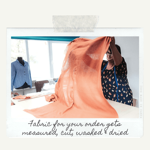 Linenbee.com cutting the right amount of fabric
