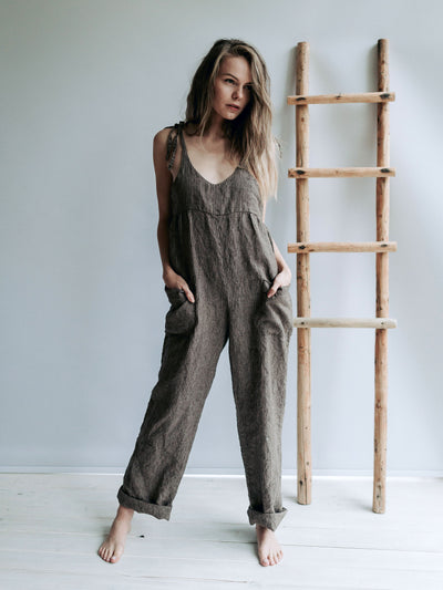 Jumpsuit Linen Overalls, Linen Dungarees for Women