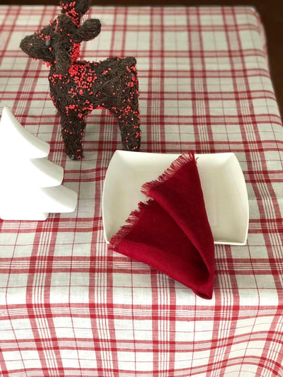 Red and White Linen Table Cloth, Christmas Linen Tablecloth
