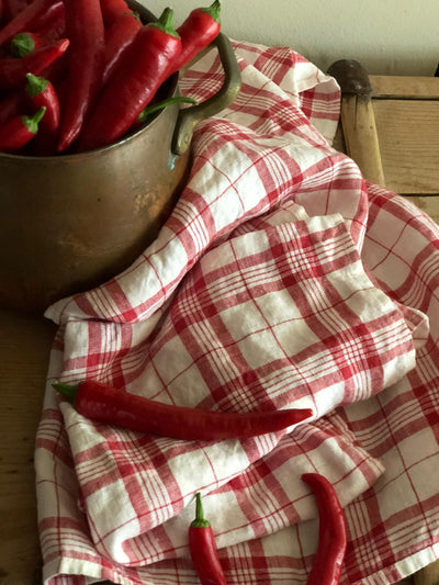 Set of Red and White Linen Towels, Linen Kitchen Towels
