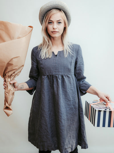 Linen Tunic Dress 'Lilah' with 3/4 Sleeves and Princess Seams