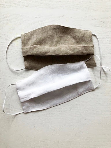 Set of 2 Face Masks from Linen, Fast Shipping