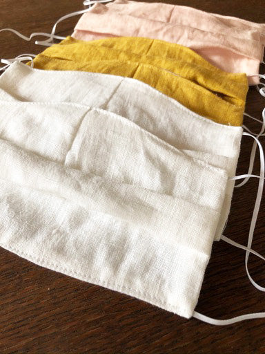 Reusable Linen Face Masks, Set of 5