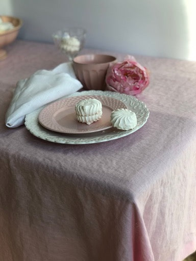 Pink Linen Tablecloth, Romantic Table Cloth