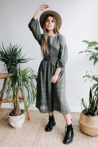 Linen Dress 'Cecilia' in Grey Gauze