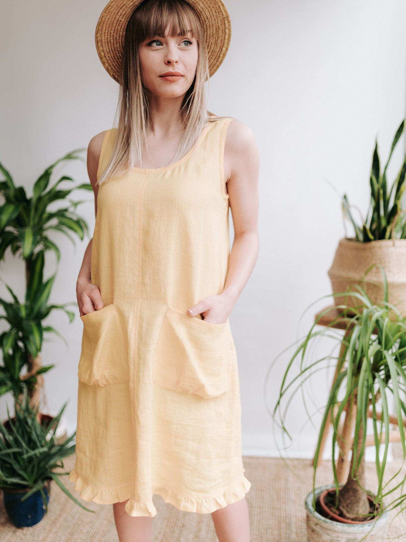 'Matilda' Linen Shift Dress, Linen Pinafore with a Ruffled Hem
