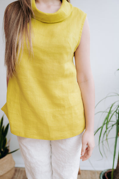 Sleeveless Linen Top With Raised Neck 'Alyssa'