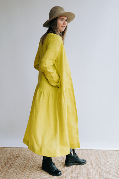 Linen Duster for Women in Lime Green