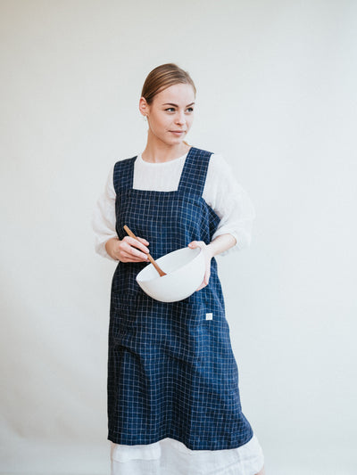 No Ties Pinafore Apron from 100% pure Linen