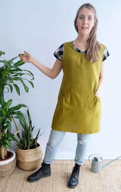 Linen Pinafore Apron 'Marian', Cross Back Apron