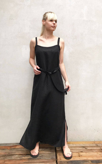 Ready to Ship:Black Linen Cami Dress, Size S