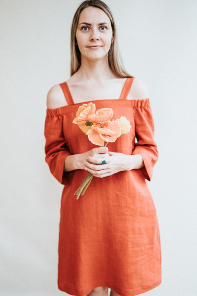 Off Shoulder Linen Dress 'Brigitte'