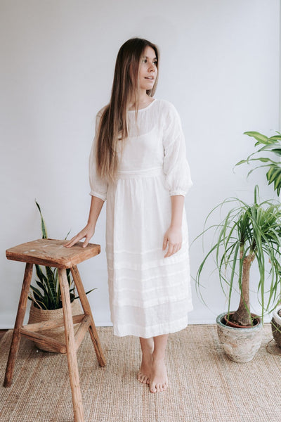 White Linen Wedding Dress, Gauze Linen Dress 'Cecilia'