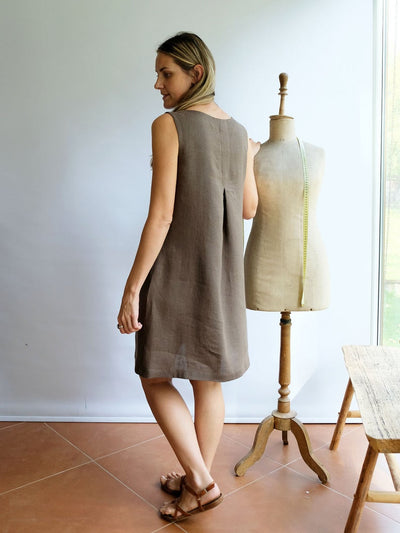 Pinafore Dress 'Lynette', Linen Pinafore Dress Women