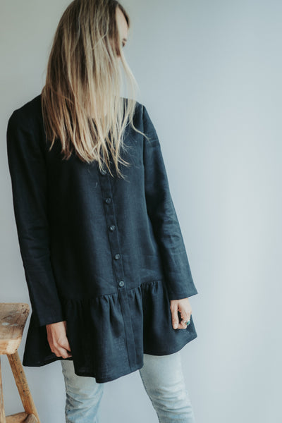 Linen Shirt with Extended Ruffle 'Leigh', Button Down Linen Tunic