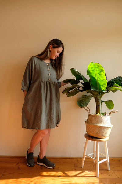 Ready to Ship:Linen Tunic Dress, Size XS-S