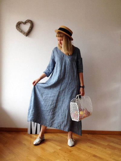 Linen Maxi Dress with Long Sleeves 'Melissa'-Linenbee