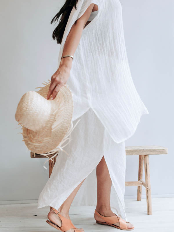Beach Cover Up from Gauzy Linen 'Amanda'-Linenbee
