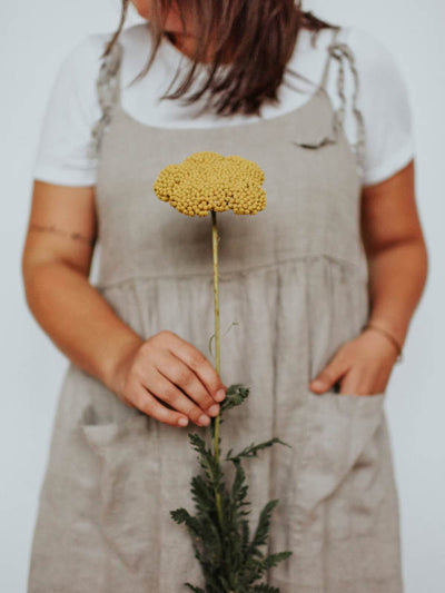 Natural Linen Pinafore Dress 'Angelica', Linen Sundress-Linenbee