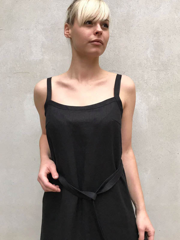Black Linen Cami Dress, Linen Maxi dress Black-Linenbee