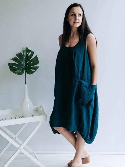 Loose Linen Dress 'Diana', Sleeveless Dress-Linenbee