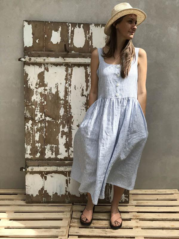 Button Up Maxi Dress Sleeveless Linen Dress 'Isabella'-Linenbee