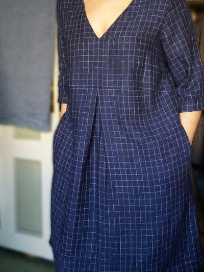 Checkered Linen Tunic 'Yvette', Dark Navy Blue Tunic Plus size tunic-Linenbee