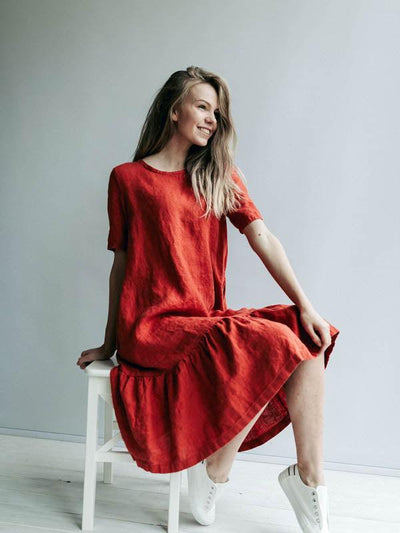 Drop Waist Dress 'Juliana' A line Dress from Linen, Drop Waist Linen Dress-Linenbee