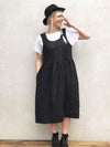 Linen Pinafore Dress, Black Linen Sundress-Linenbee