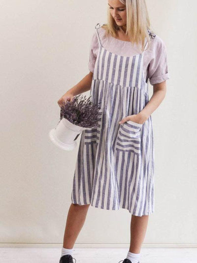 Linen Strap Dress 'Angelica-Short', Linen Jumper Dress-Linenbee
