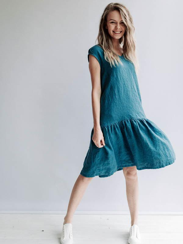 A line Drop Waist Dress 'Julia' from Linen, Drop Waist Linen Dress-Linenbee